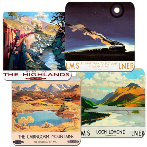 Scotland By Rail Railway Poster Coasters Set Of 4 High Quality Cork Train Travel